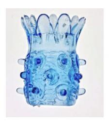 Голубая насадка на фаллос с шипами в виде ананаса