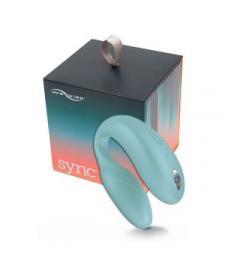 Голубой вибромассажер для пар We-Vibe Sync Aqua на радиоуправлении