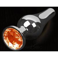 Серая анальная пробка с оранжевым кристаллом - 8,5 см.