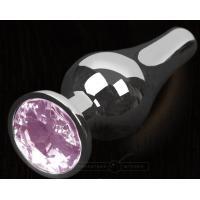 Серая анальная пробка с розовым кристаллом - 8,5 см.