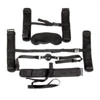 Пикантный черный текстильный набор БДСМ: наручники, оковы, ошейник с поводком, кляп, маска