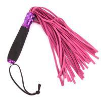 Розовый флоггер с черной металлической ручкой Notabu - 40 см.