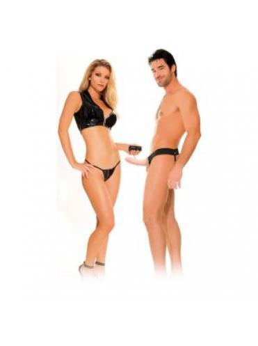 Полый страпон унисекс телесного цвета с вибрацией For Him or Her Vibrating Hollow Strap-On - 15 см.