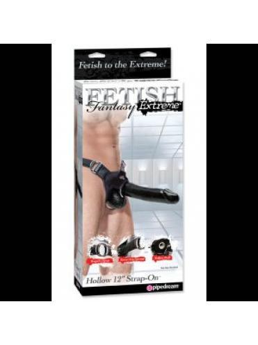 Полый страпон унисекс черного цвета - 25 см.