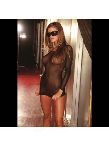 Ультракороткое платье из прозрачной сетки