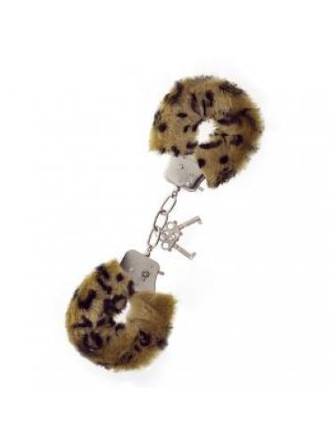 Леопардовые наручники METAL HANDCUFF WITH PLUSH LEOPARD