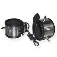 Серебристо-черные наручники с шипами и металлическим блеском