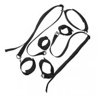 Комплект фиксаторов ног и рук с ошейником черного цвета