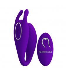 Фиолетовый U-образный вибратор для пар Bill с пультом ДУ