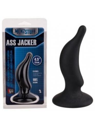 Чёрная анальная пробка ASS JACKER - 12 см.