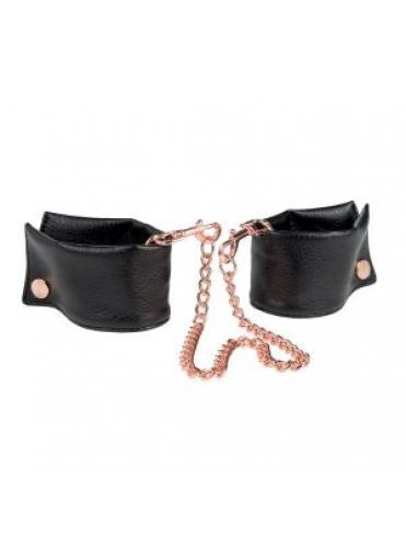 Черные мягкие наручники Entice French Cuffs с цепью