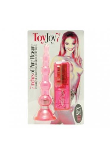 Розовая виброёлочка для анальной стимуляции - 17,8 см.