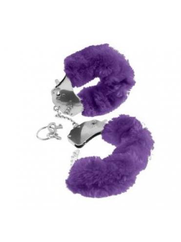 Металлические наручники Original Furry Cuffs с фиолетовым мехом