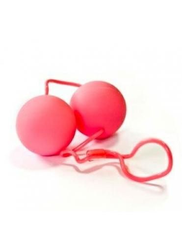 Круглые розовые вагинальные шарики со шнурком