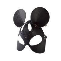Черная кожаная маска  Мышка  с тиснением