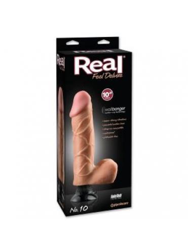 Вибратор телесного цвета с мошонкой Real Feel Deluxe №10 - 30 см.