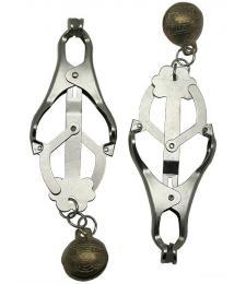 Серебристые зажимы для сосков со звенящими шариками