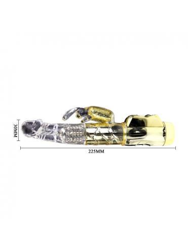 Золотистый вибратор U.S. Gold Lover с ротацией и клиторальным зайкой - 22,5 см.