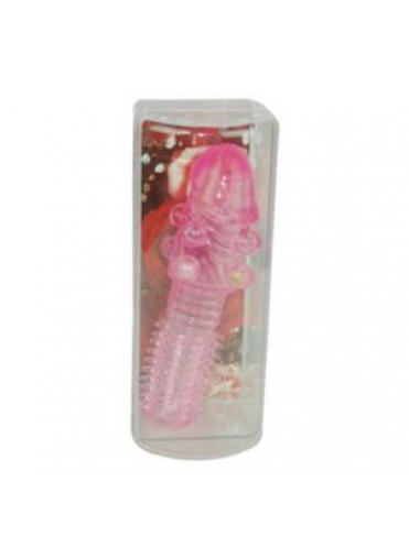 Рельефная розовая насадка с бусинами и шипами - 14 см.
