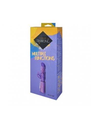 Фиолетовый вибратор с клиторальным стимулятором CLASSIC TRI PRONGE - 24 см.