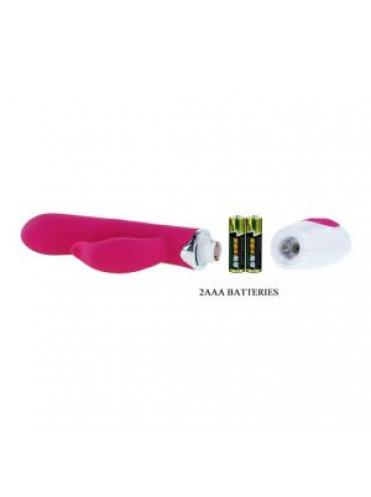 Розовый вибратор Felix с клиторальным стимулятором - 21 см.