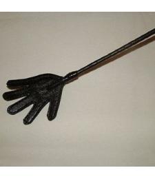 Длинный плетённый стек с наконечником-ладошкой - 85 см.