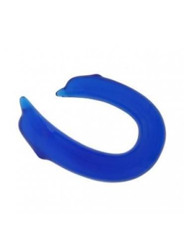 Двусторонний фаллоимитатор DOUBLE ENDED DOLPHIN CLEAR BLUE - 28,9 см.