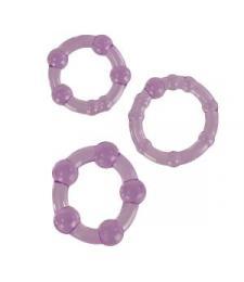 Набор из трех фиолетовых колец разного размера Island Rings