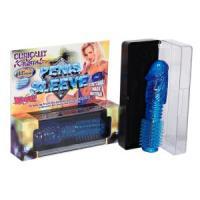 Синяя насадка-ёршик PENIS SLEEVE STRETCHABLE - 16,5 см.