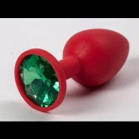 Красная силиконовая пробка с зеленым кристаллом - 7,1 см.