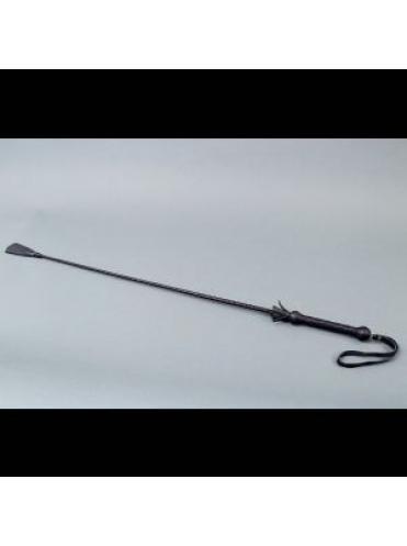 Чёрный стек с плетеной ручкой и наконечником-ступнёй - 70 см.