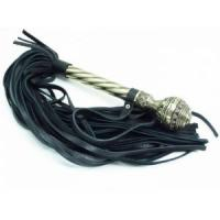 Чёрная многохвостая плеть с кованой рукоятью - 40 см.