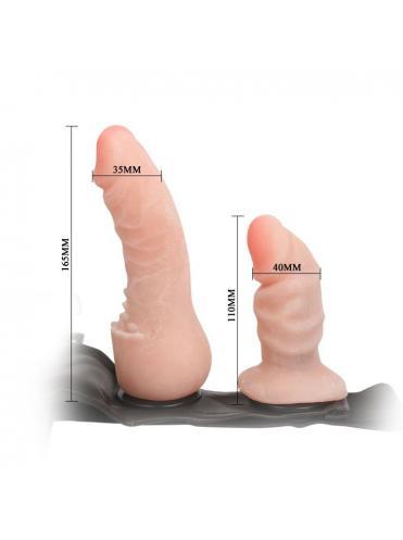 Поясной фаллос на трусиках с вагинальной пробкой Female Harness Ultra - 16,5 см.