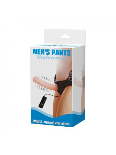 Полый страпон на трусиках с вибрацией и выносным пультом управления Mens Pants - 16,5 см.
