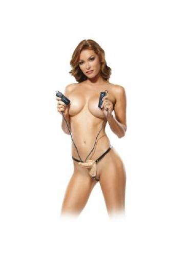 Женский страпон с вагинальной вибропробкой Super Penetrix Strap-on - 15 см.