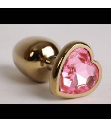 Золотистая анальная пробка с розовым стразиком-сердечком - 7,5 см.