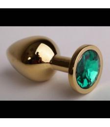 Золотистая анальная пробка с зеленым кристаллом - 9,5 см.