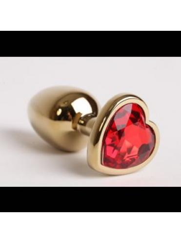 Золотистая анальная пробка с красным стразиком-сердечком - 8 см.