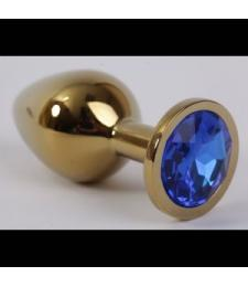 Золотистая анальная пробка с синим кристаллом - 8,2 см.