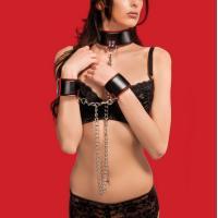 Чёрно-красный двусторонний ошейник с наручниками Reversible Collar and Wrist Cuffs