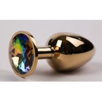 Золотистая металлическая анальная пробка с радужным стразом - 8,2 см.