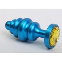 Синяя ребристая анальная пробка с жёлтым кристаллом - 7,3 см.