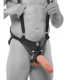 Страпон-система с телесной насадкой 10  Hollow Strap-On Suspender System - 25 см.