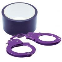 Набор для фиксации BONDX METAL CUFFS AND RIBBON: фиолетовые наручники из листового материала и липкая лента