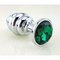 Серебристая фигурная анальная пробка с зеленым стразом - 8 см.