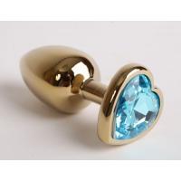 Золотистая анальная пробка с голубым кристаллом-сердцем - 9 см.