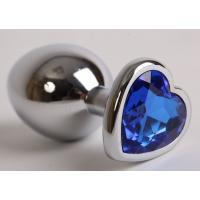 Серебристая анальная пробка с синим кристаллом-сердцем - 9 см.