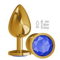 Золотистая большая анальная пробка с синим кристаллом - 9,5 см.