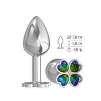 Серебристая анальная втулка с клевером из радужных кристаллов - 7 см.