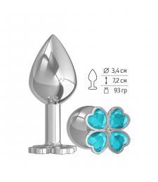 Средняя серебристая анальная втулка с клевером из голубых кристаллов - 8,5 см.